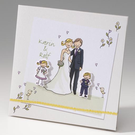 Hochzeitseinladung Braut-Kinder  Farbe weiß/creme  Hochzeitskarten ...
